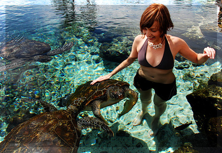 Swimming with turtles in Hikkaduwa